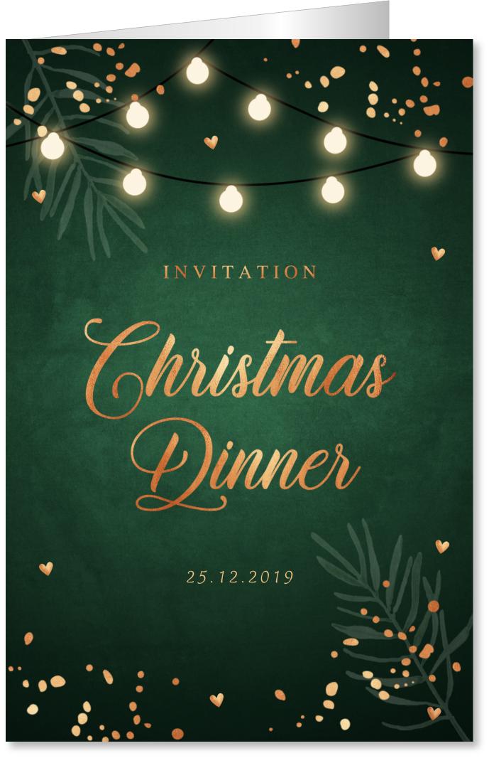 Kerstdiner uitnodiging donkergroen koperlook