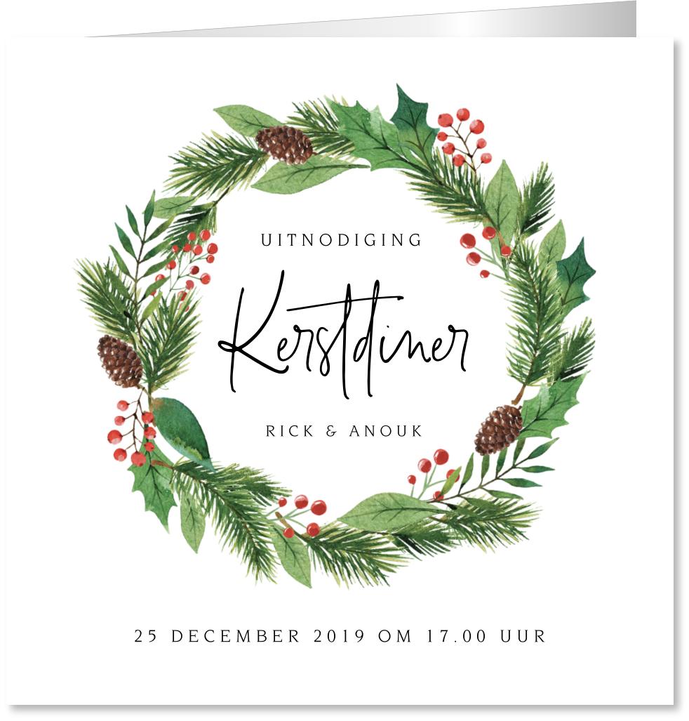 Kerstdiner uitnodiging kerstkrans