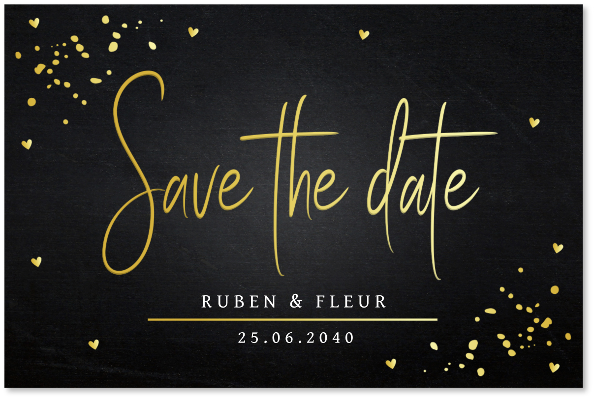 GOUDFOLIE Save the Date kaart zwart goud