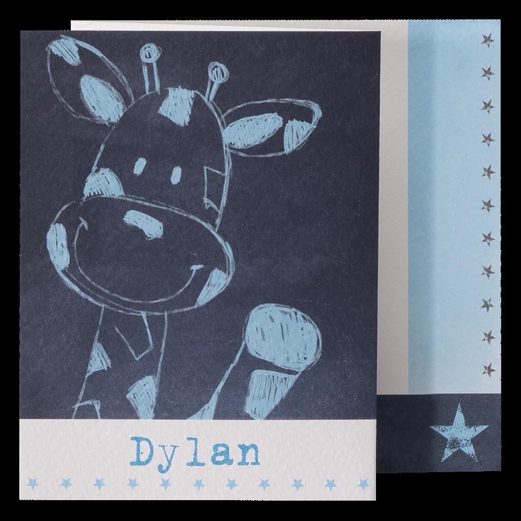 Lief geboorte kaartje jongen met zwaaiende giraffe I 715102