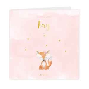 Trendy goudfolie geboortekaartje meisje met vosje roze verf en hartjes