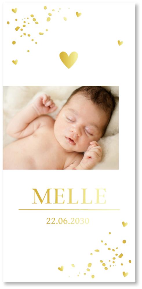 GOUDFOLIE geboortekaartje foto confetti