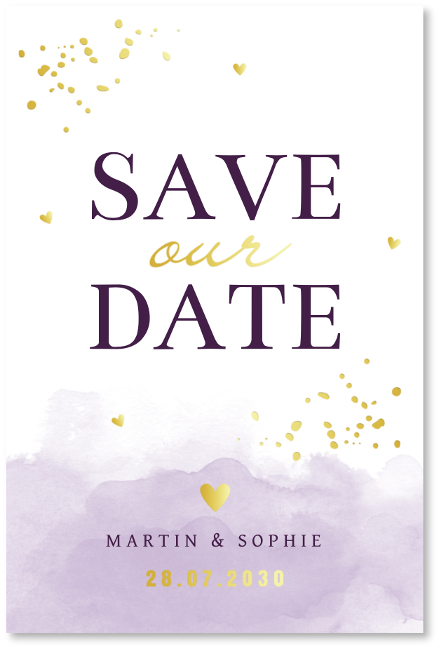 GOUDFOLIE Save the Date kaart waterverf