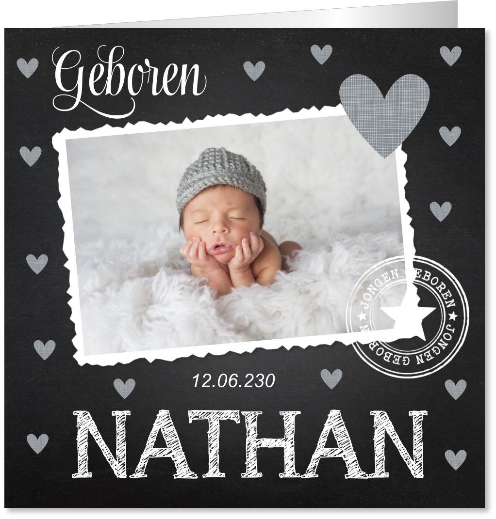 Geboortekaartje foto krijtbord