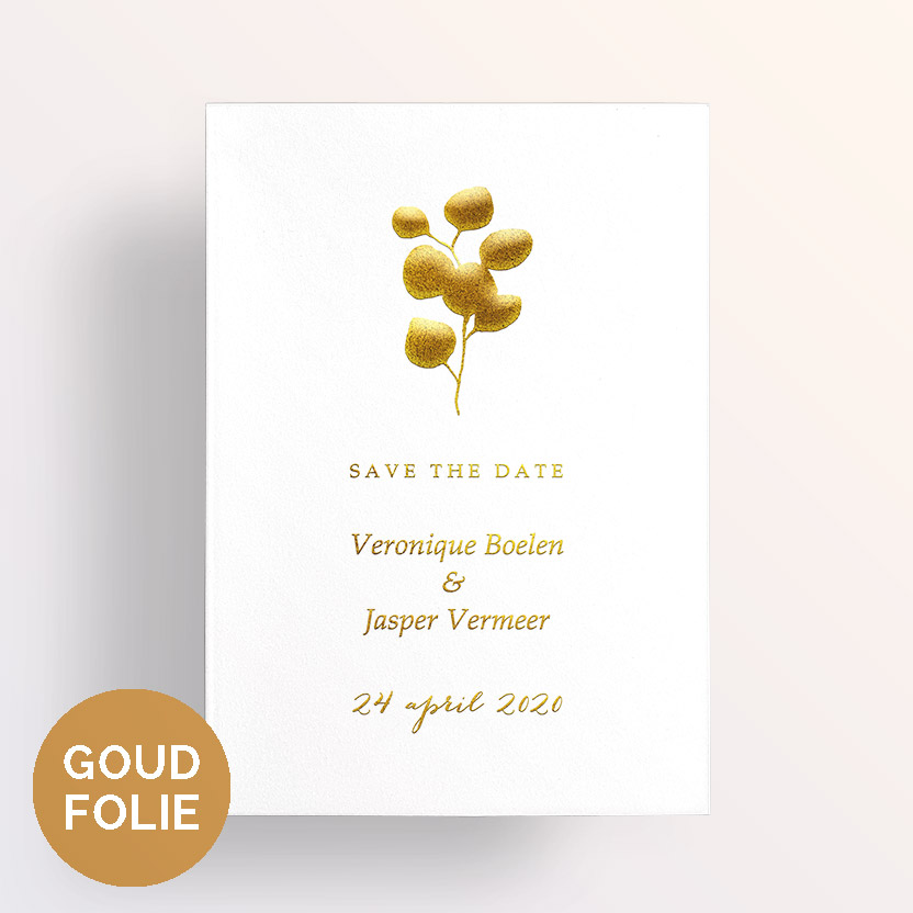 goudfolie save the date eucalyptus takje