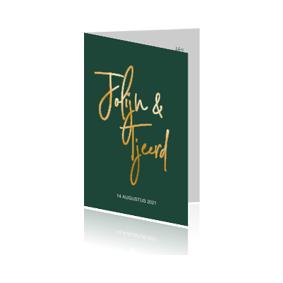 Goudfolie trouwkaart in hip donkergroen