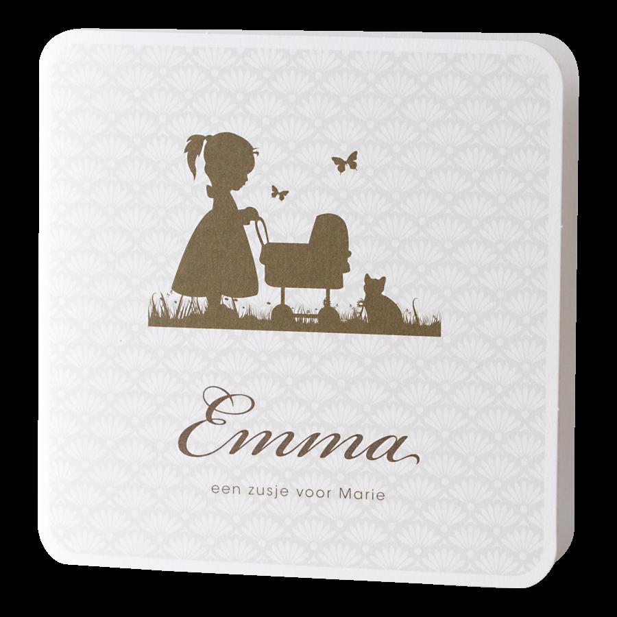 Lief geboortekaartje van Buromac met meisje bij wieg I 584094