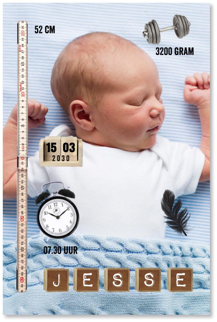 Geboortekaartje foto icoontjes