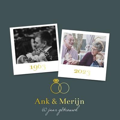 Goudfolie uitnodiging 60 jaar getrouwd met ringen en foto's