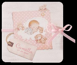 Lief geboortekaartje met tekening van baby met knuffeldieren I 715106