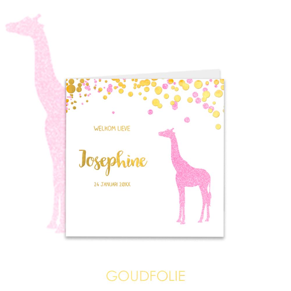 Goudfolie eboortekaartje met giraf en glitter spetters