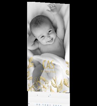 Goudfolie geboortekaartje met foto en bloemen