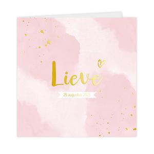 Hippe goudfolie geboortekaart meisje met roze verf vlekken en spetters