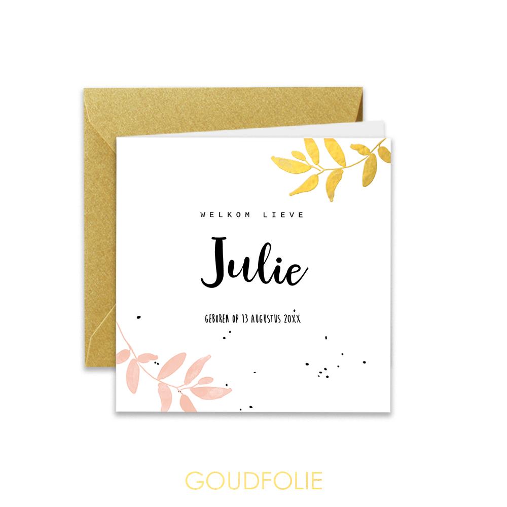 Goudfolie geboortekaartje met blaadjes in roze en goud