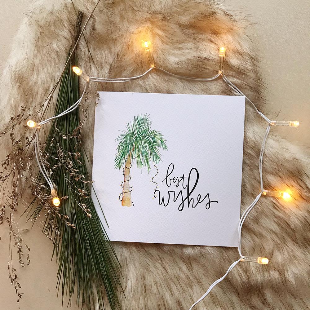 Kerstkaart tropisch palmboom goudfolie