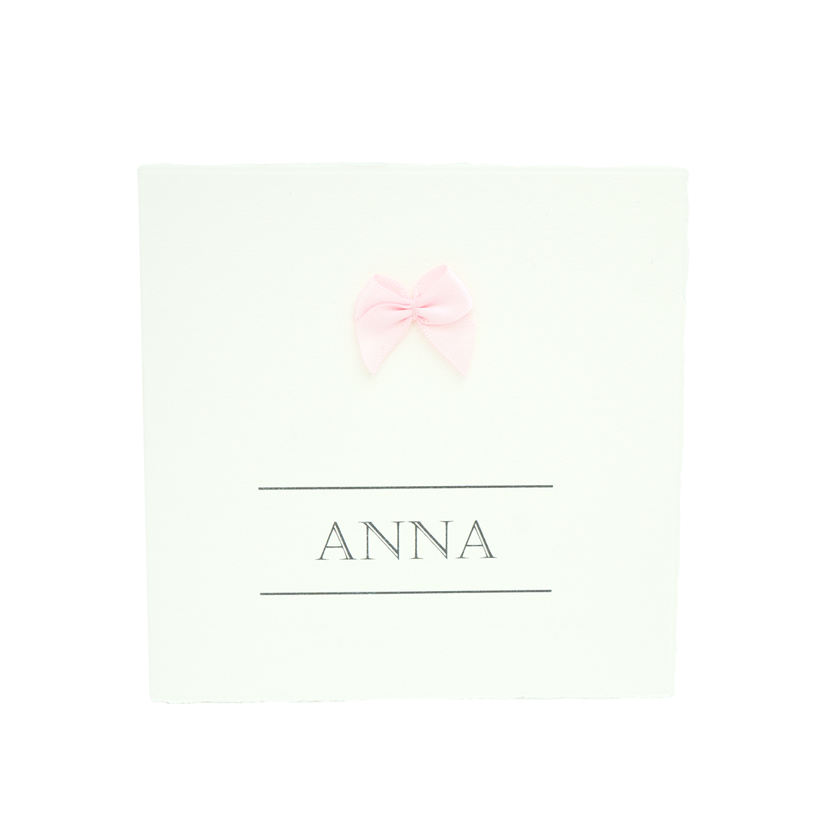 Oud-Hollands geboortekaartje met roze strikje
