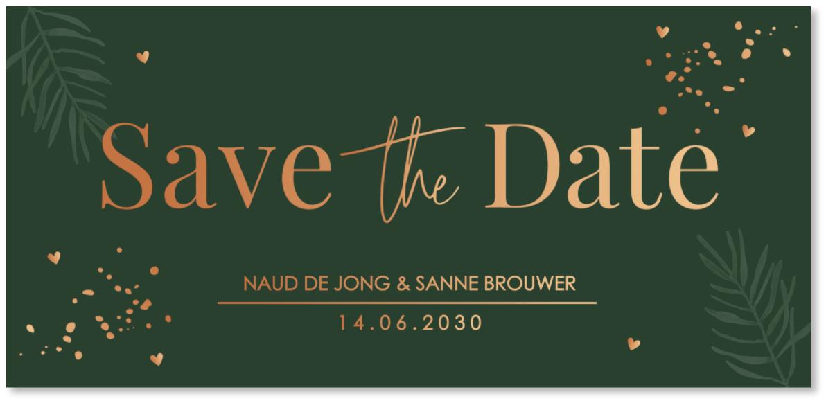KOPERFOLIE Save the Date kaart donkergroen confetti