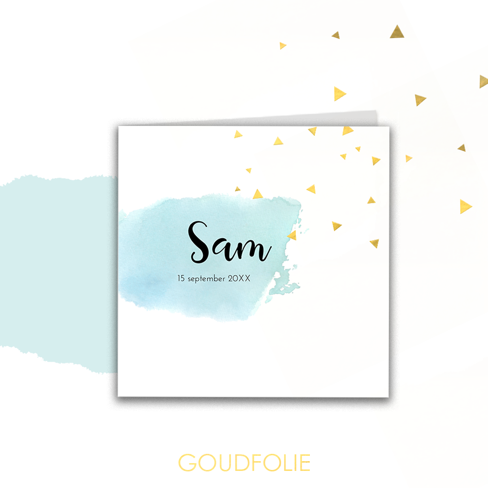 Goudfolie geboortekaartje met inktvlek en confetti