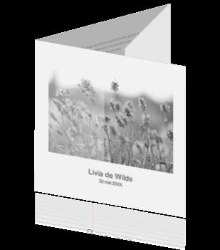 Drieluik rouwkaart met bloemen en transparant vlak