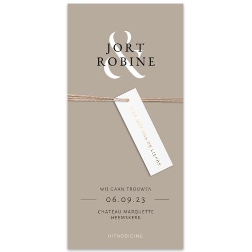 Basic trouwkaart met en-teken en écht label