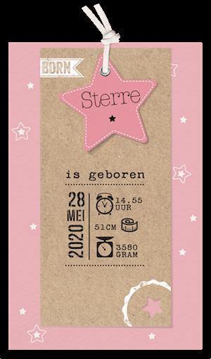 Stoer geboortekaartje van Belarto met roze ster en kraft I 717035M