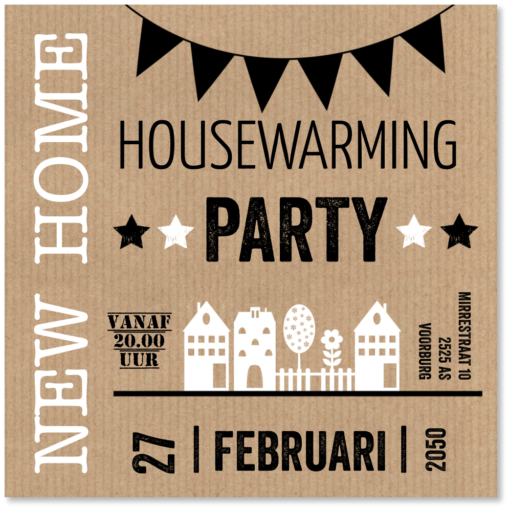 Housewarming typografie kraft