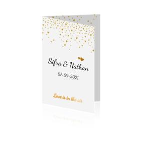 Goudfolie trouwkaart met hartjes-confetti