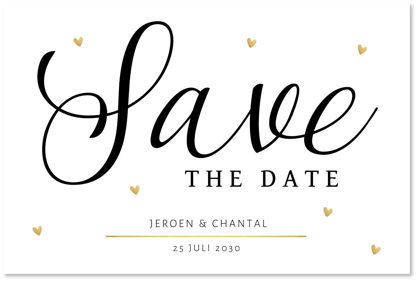 Save the Date kaart typografie hartjes