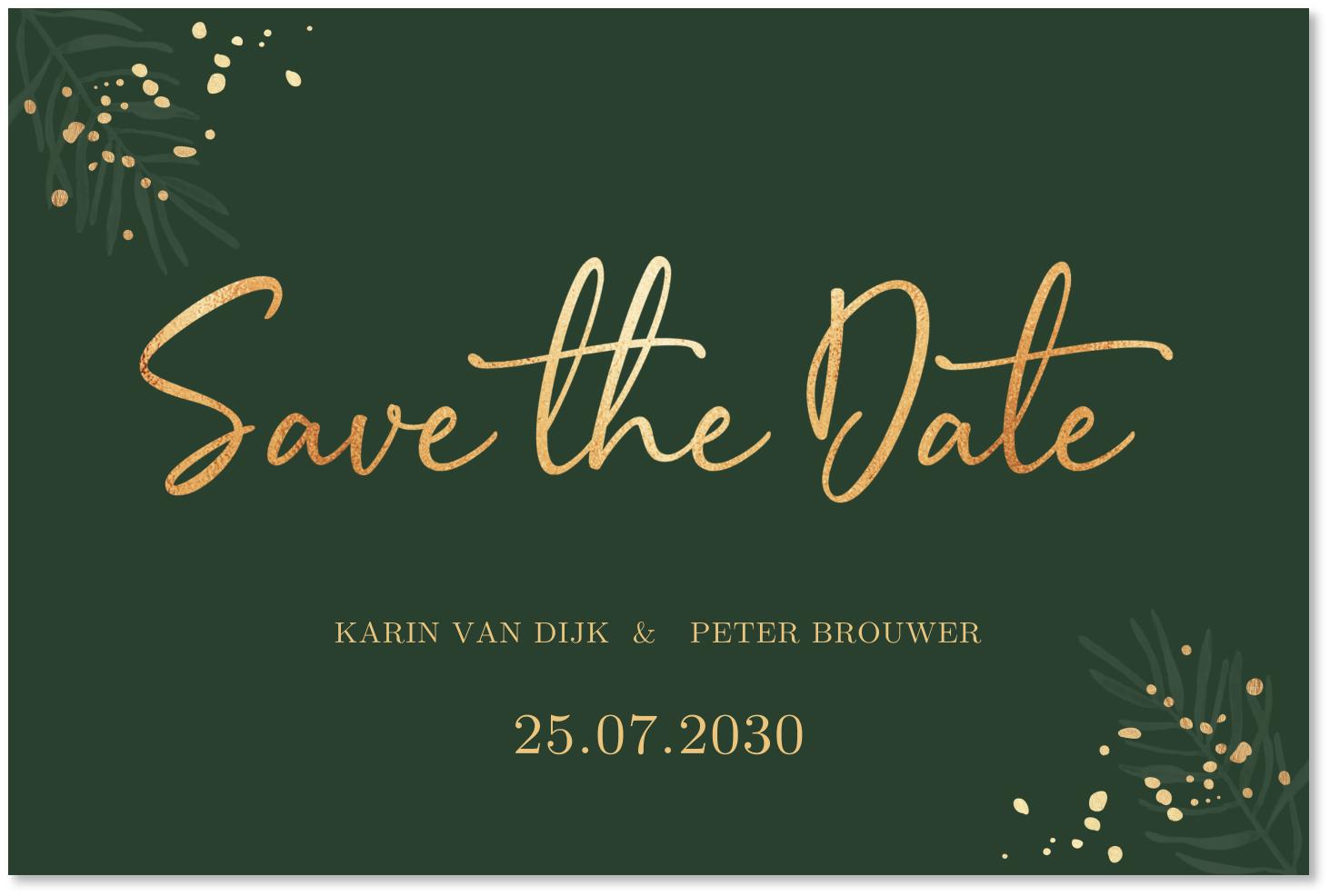 Kerst Save the Date groen goudlook