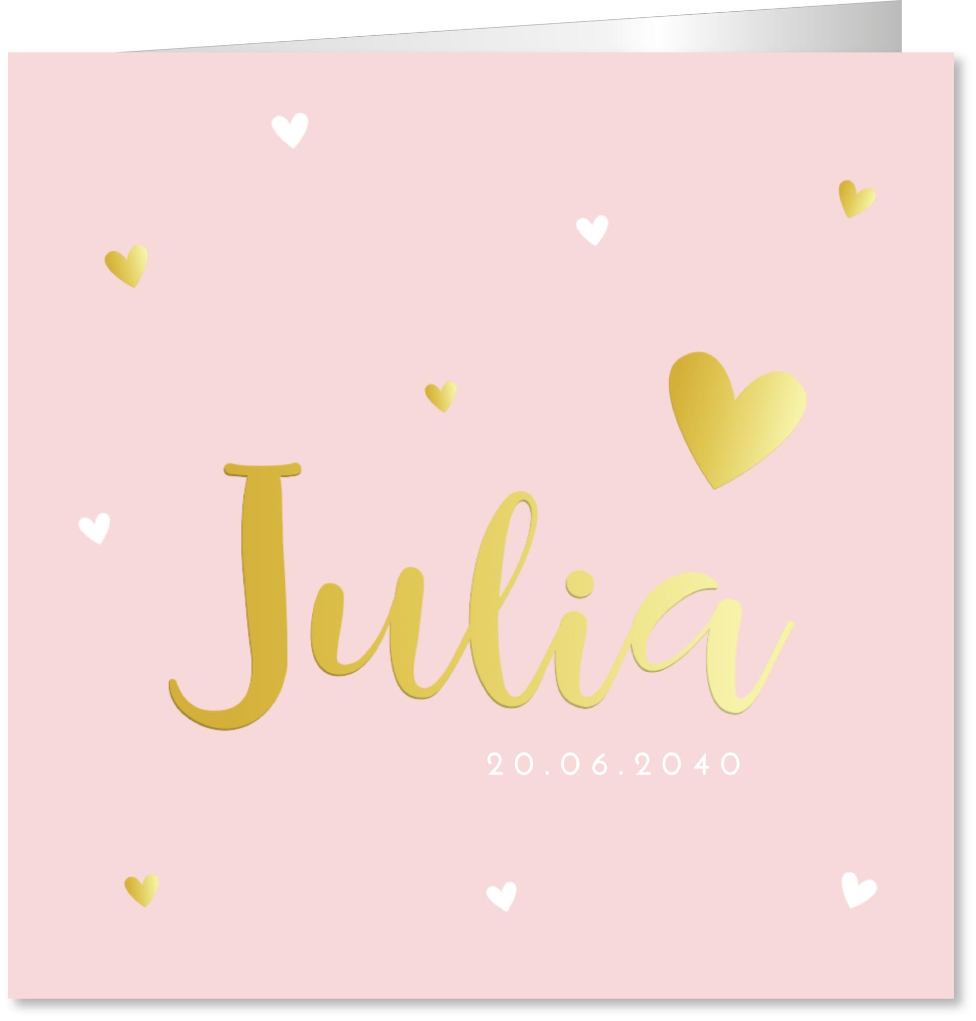 Geboortekaartje hartjes goudfolie roze
