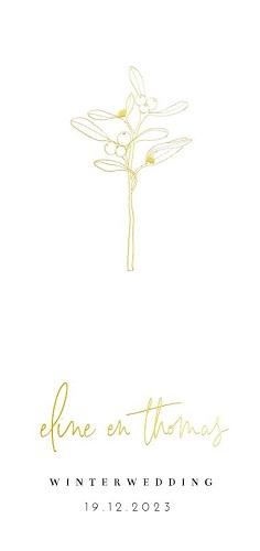 Trouwkaart met mistletoe in goudfolie