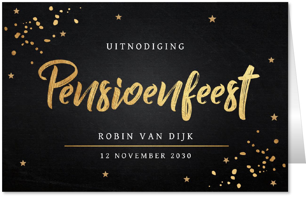 Pensioen uitnodiging goud confetti