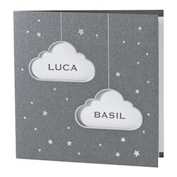 Zilverfolie tweeling geboortekaart met wolkjes I Buromac 589061