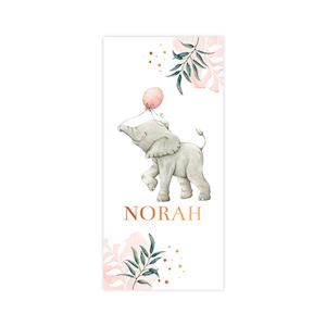 Koperfolie geboortekaart meisje met olifantje