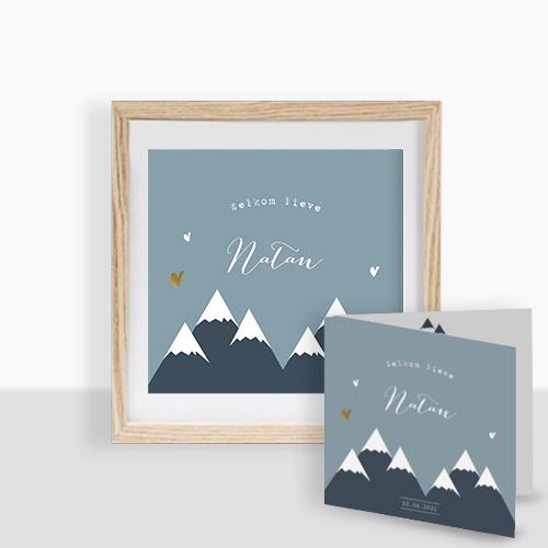 Poster geboortekaartje jongen met mountains