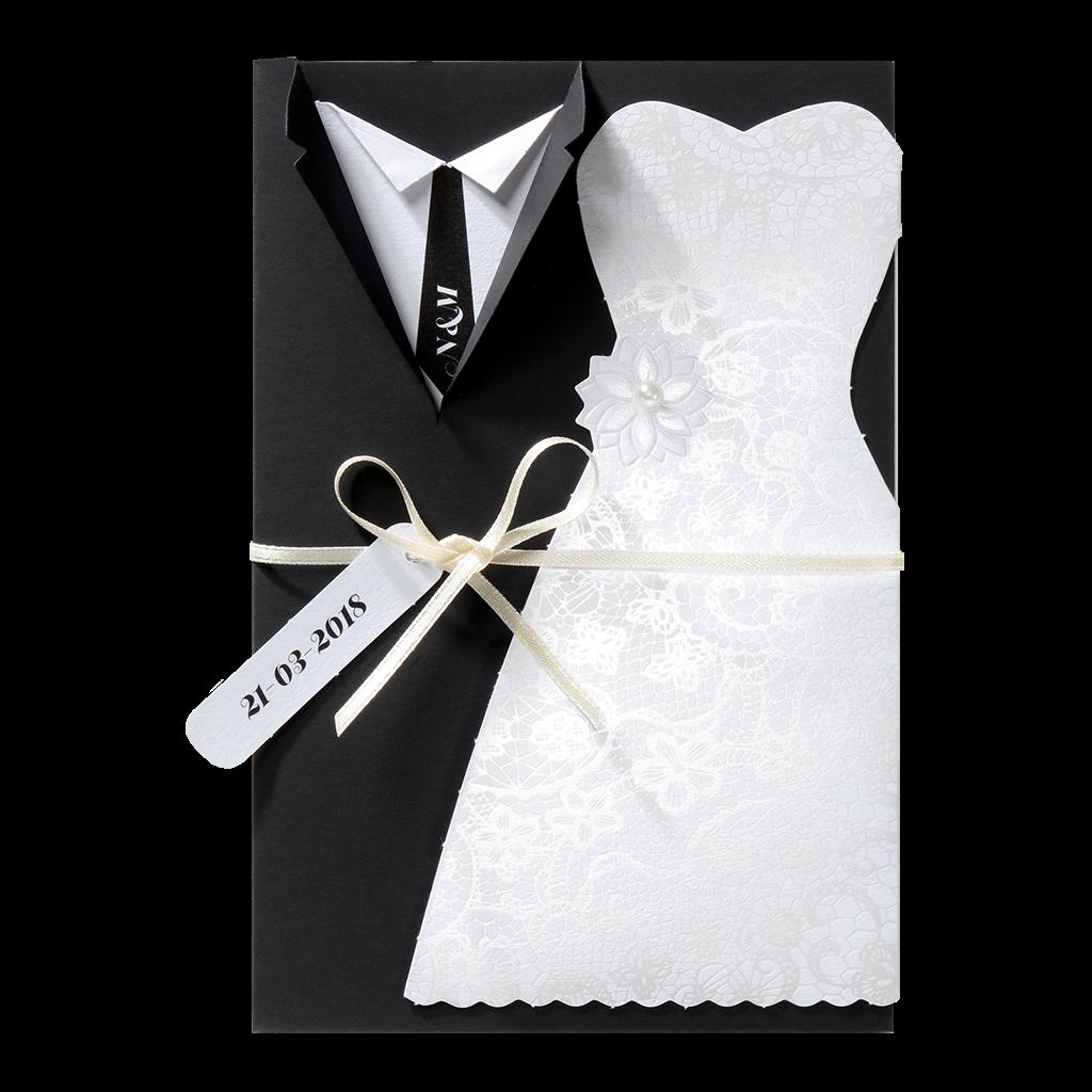 Origineel trouwkaartje met bruiloftskleding I 726024