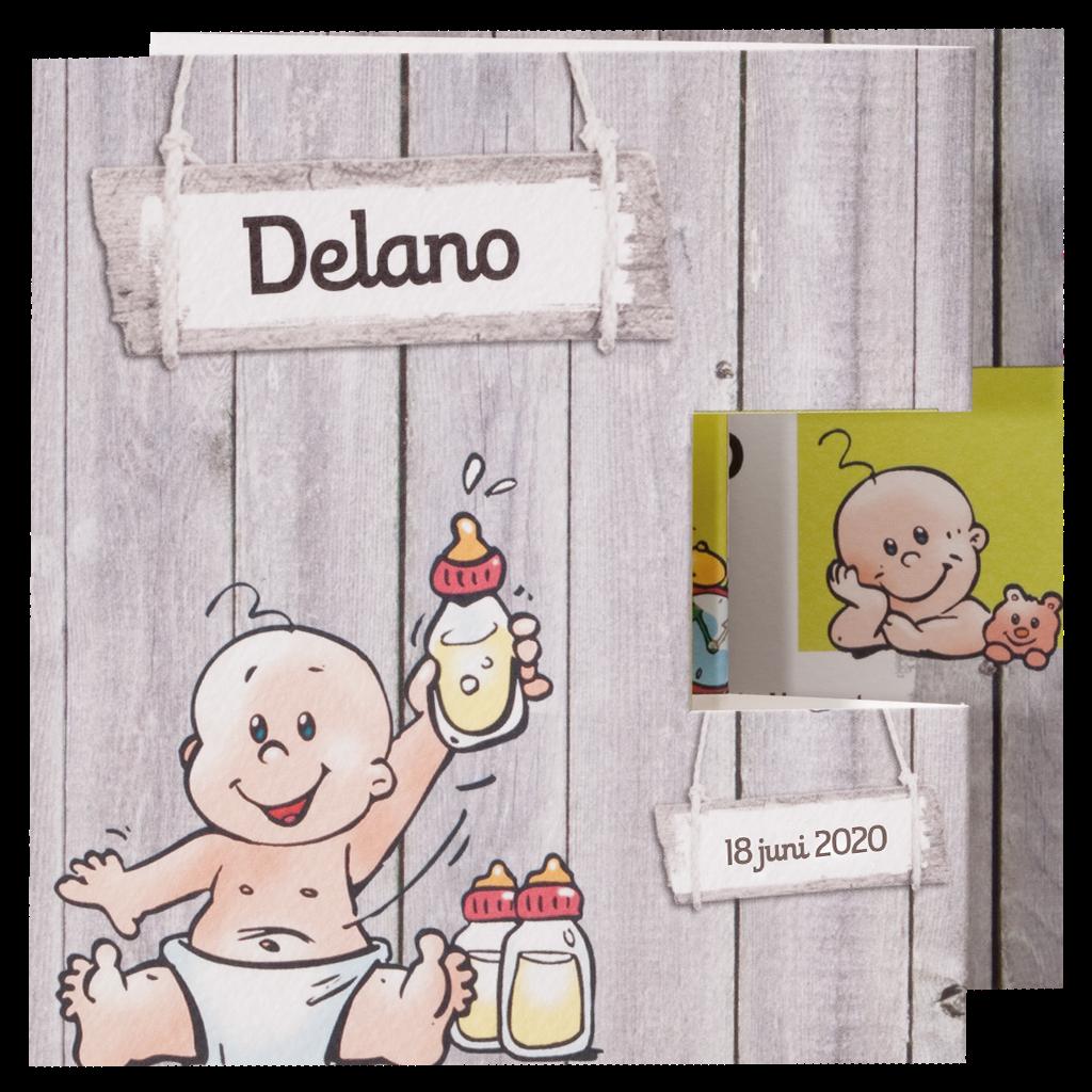 Stoere geboorte kaart met geillustreerde baby I 715908