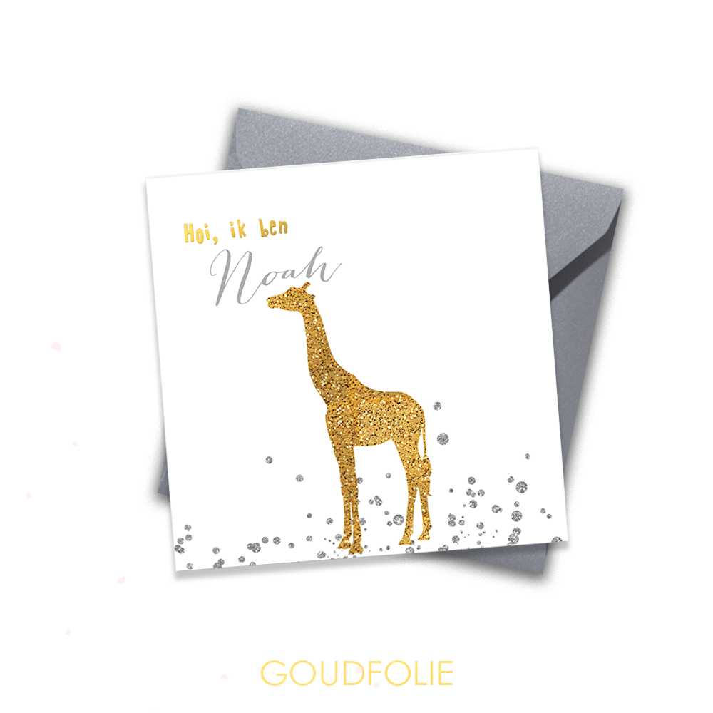 Goudfolie geboortekaartje met giraffe