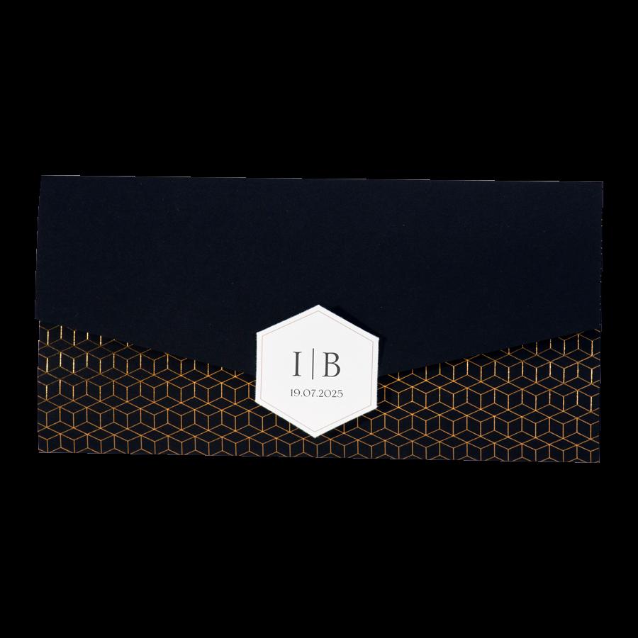 Chique trouwkaart van Buromac met koper op zwart I 108066