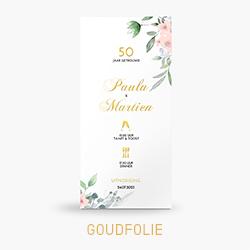 Goudfolie jubileumkaart met aquarel bloemen