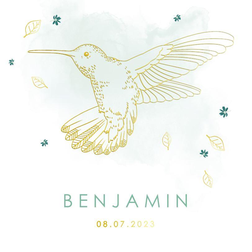 Geboortekaartje goudfolie kolibri met watercolour