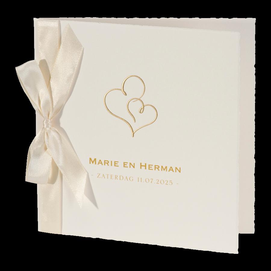 Romantische trouwkaart in crème I 108039