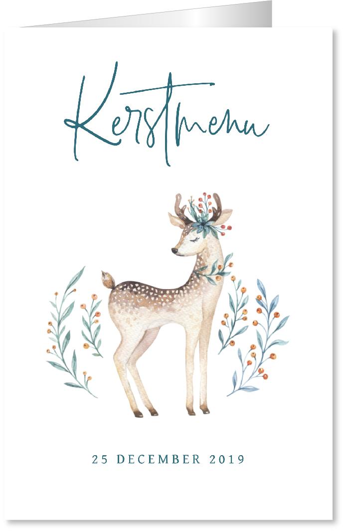 Kerstmenukaart rendier