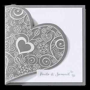 Klassiek trouwkaartje met sierlijk hart I Belarto 726064