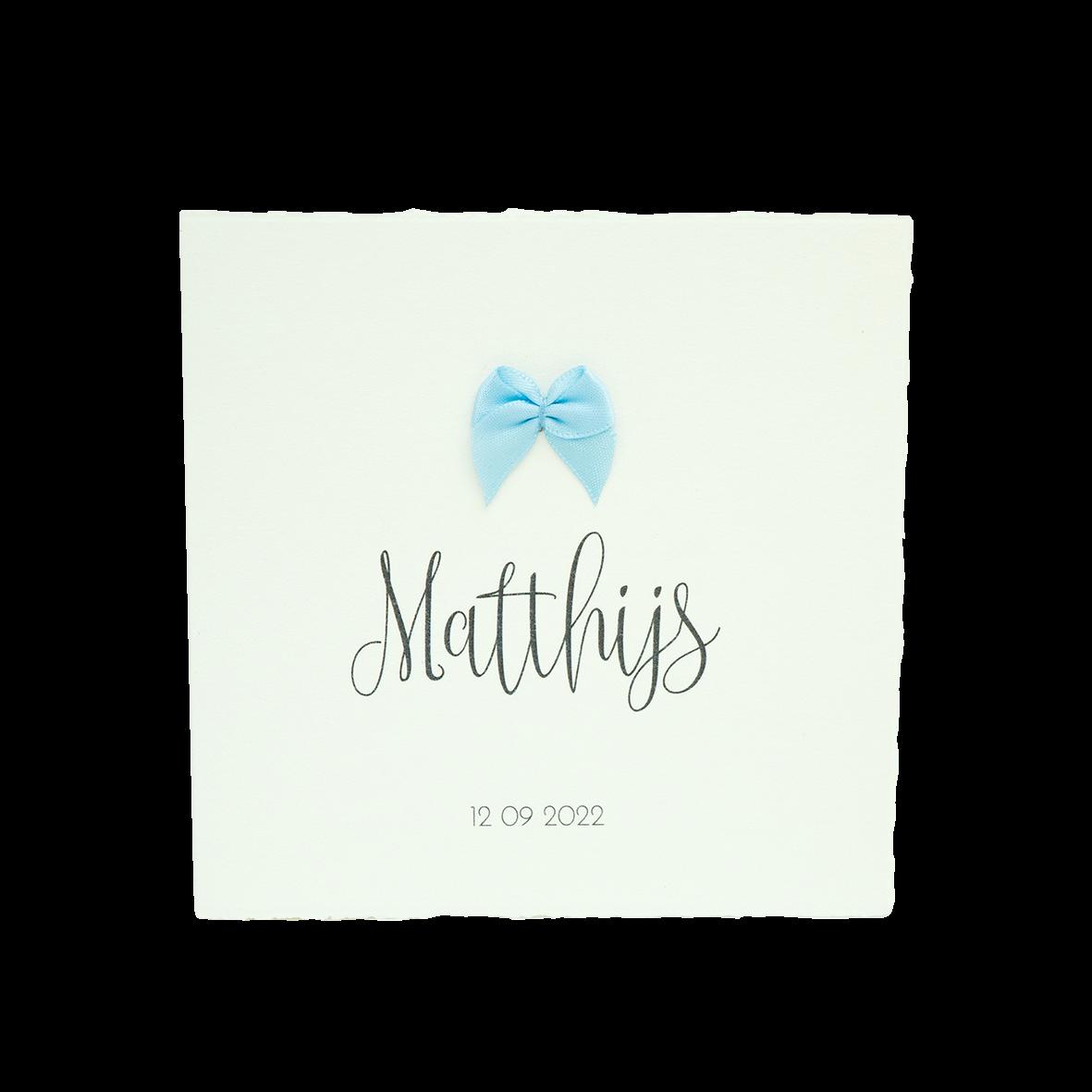 Strikje blauw geboortekaartje inprint