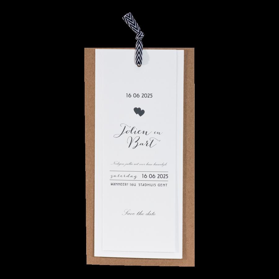 Hippe trouwkaart van Buromac met kraft papier labels I 108010