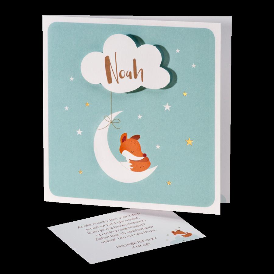 Lief geboortekaartje met vosje maan wolkje en sterren I Buromac 507042