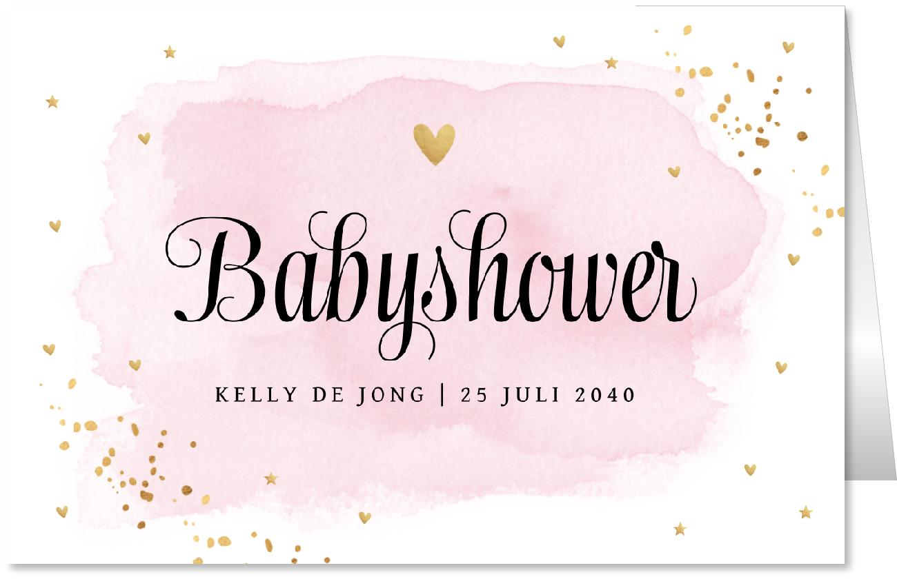 Babyshower uitnodiging waterverf goud