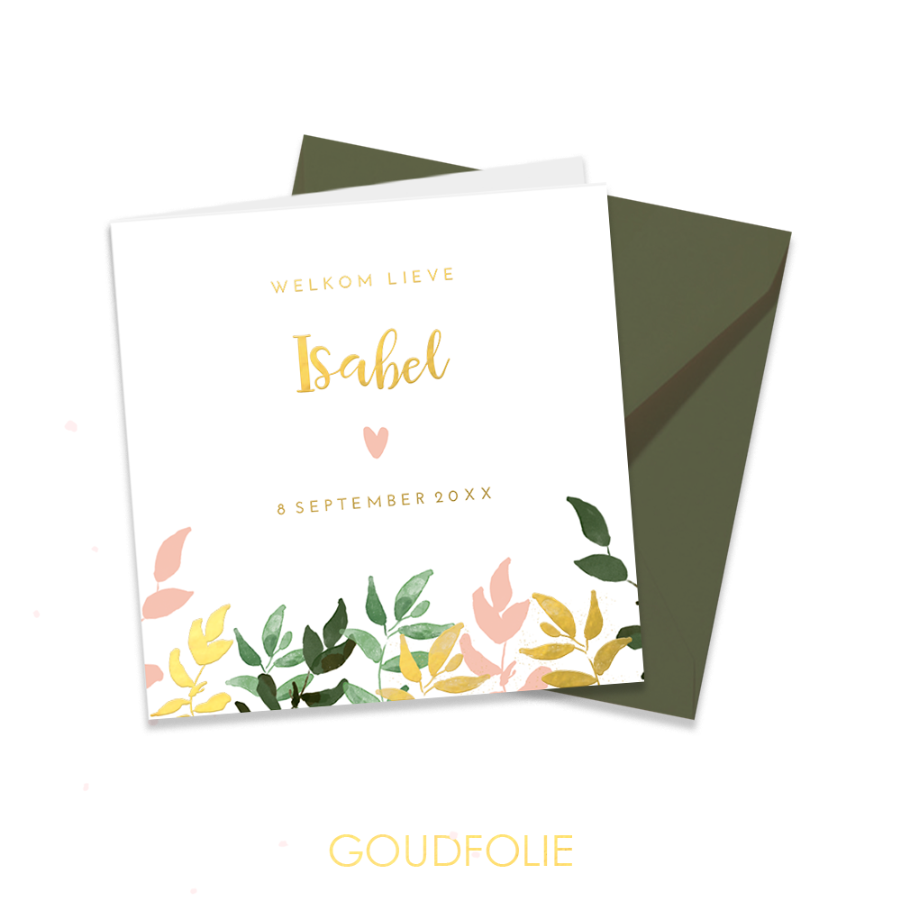 Goudfolie geboortekaartje in botanical stijl