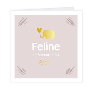 Geboortekaartje met olifantje in goudfolie en takjes